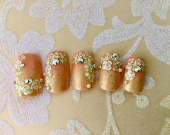 Rosy Cascade, Wedding/Bridal Nail Art- Floral French Nails, Fake Nails, Spring, Bride, Wedding, floral, Boho Bride Accessories, Pastel, Nail