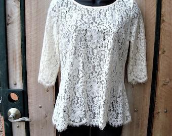 Vintage Cream Floral Lace Short Sleeved Bouse Eyelash Lace Trim Size M