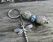 NEW YEAR CLEARANCE New Grey Blue Glass Beaded Floral Dangling Dragonfly Keychain