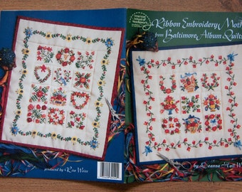 1999 ribbon embroidery motif from Baltimore Album Quilts