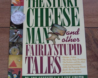 vintage 1992 children picture book The Stinky Cheese Man and other fairly stupid tales