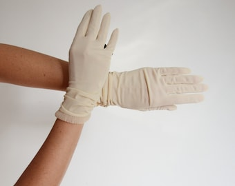 Deadstock Beige Hansen Thin Sheer Nylon Gloves