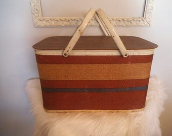 1960s Vintage Cool Picnic Basket ~ Retro Picnic Hamper Hinged Lid ~ Striped ~ Roomy Storage Sturdy & Clean