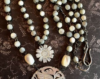 Vintage Mother of Pearl Bird Necklace