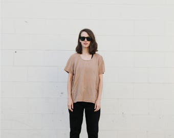 Hand woven t shirt style tan blouse. Small