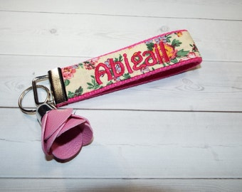 Mini Floral Monogrammed Keychain flowers with rose tassel - Personalized Custom Embroidered Initial, 3 Letter or Name Key fob