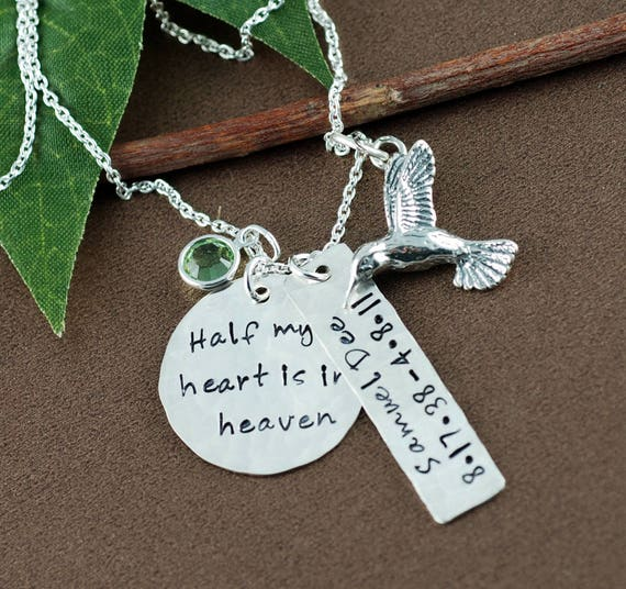 Personalized Memorial Necklace, Half My Heart is in Heaven, Hummingbird Necklace, Bereavement Gift, Sympathy Gift, Remembrance Necklace
