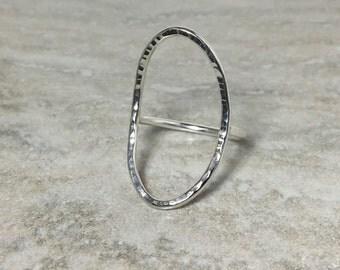 Rings, Silver Ring, Sterling Silver Ring, Silver Oval Ring, Oval Ring, Silver Open Oval Ring, Made to Order