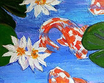 Impressionist Painting Garden KOI Pond LOTUS LILY Pad Lynne French Art 9x12