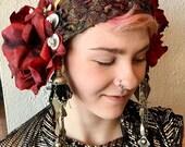 Rose and tassel tribal fusion bellydance headdress