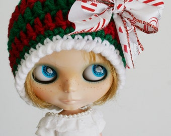 Blythe Holiday Beanie Striped Cloche with Satin Bow Traditional Christmas Colors Red Green and Candy Canes