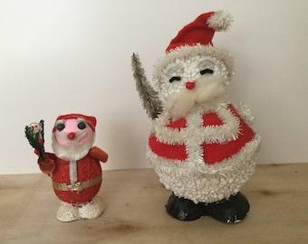 Paper Mâché Santa and Snowman, Made in JAPAN, Vintage Santa, Santa Ornament, Mid Century Christmas, Xmas Kitsch, Kitschmas, 1940s, 1950s