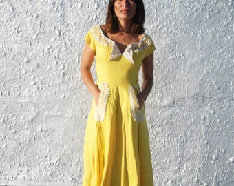 Vintage 1950s Gorgeous Yellow and White Summer Party Dress by Milnont S/M