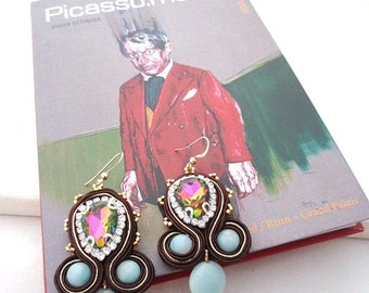 chandelier amazonite earrings | picasso collection | gift for her | chocolat and aqua earrings | gold and aqua luxury earrings | christmas