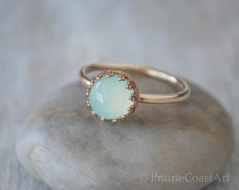Gold Chalcedony Ring in 14k Gold-Filled - Sea Foam Chalcedony Ring - Handcrafted Artisan Ring