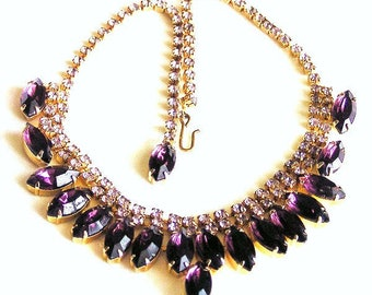 Amethyst and Lilac Rhinestone Necklace