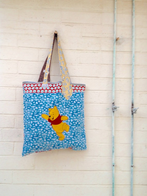 Winnie the PoohMarket Bag/Funky Garden Bag/Hobo Farmers Market Grocery Bag/Upcycled Purse/Eco Living/Garden Bag/Shop local/Veggies/Pooh Bear