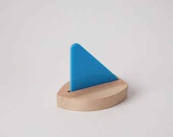Birch Toy Sailboat with Blue Sail - modern design