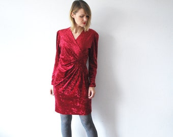 80s cherry red crushed velvet dress. drape mini dress. velvet party dress - medium to large