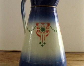 Gorgeous Blue Enamel Jug/Pitcher, Art Nouveau, Stencil Designs