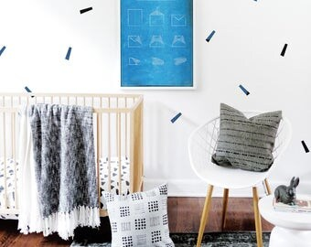 Streamer Wall Decal Navy Blue Black Confetti Wall Stickers Wall Decal Baby Removable Stickers Kids Baby Nursery Decor. Streamers Wall Decal