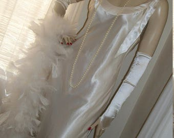 1930s Style Replica White Satin Gown Jean Harlow Bow Tie Back Shoulder Drape Orig Design Wedding Size M