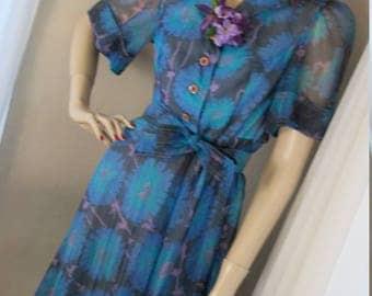 1940s Authentic Vintage Organza Schoolgirl Dress Size S/M
