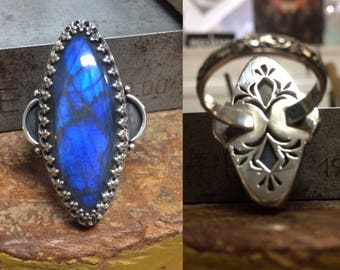 Royal Blue Labradorite Ring