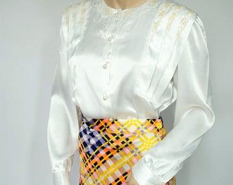 1980's Blouse Vintage Sequin Blouse White Long Sleeve Satiny Women's Shirt Size 6