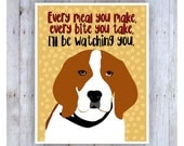Beagle Art Print, Dog Poster, Dog Print, Beagle Picture, Dog Decor, Pet Art, Beagle Poster, Funny Dog, Funny Saying