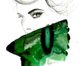 Glancing Back, print from original watercolor and mixed media fashion illustration by Jessica Durrant