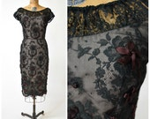 50s Illusion Wiggle Dress w Black Floral Lace & Ribbon Details // Chic, Sexy Cocktail Dress // Old Hollywood Pinup Perfection