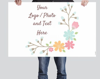 2.5' x 4' Medium Horizontal Banner Use Own LOGO or PHOTO Design Custom Personalized