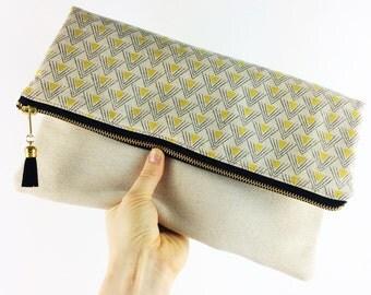 Black and cream geometric fold over clutch bag | Handmade gift, best friend gift, statement clutch