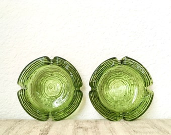 Vintage Pair Anchor Hocking Soreno Ashtrays, Avocado Green