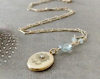 Gold Opal Locket, October Birthstone Locket, Gold Oval Locket Necklace, Gold Photo Locket, Push Present, Gold Picture Locket, Opal Necklace