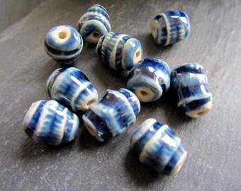 Beads Ceramic 'Glassy Blue Track Ridged' Patterned Beads Handmade Clay Pottery 534