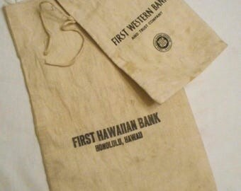 Vintage Canvas Deposit Bags Set of Two First Hawaiian and First Western Banks