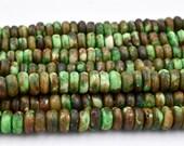 Green Bone Disc Beads, 7x3mm,   16 inch Strand,  Colored  Bone Beads, Cow Bone -BN57