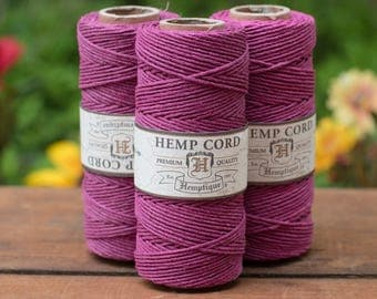 Magenta Hemp Cord,  205 feet,  Colored Hemp Twine,   Pink Hemp Cord, Hemp Jewelry Cord