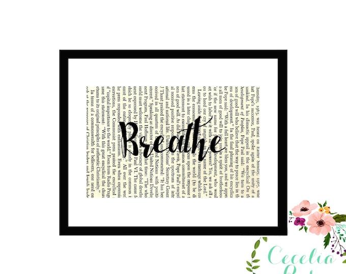 Breathe Inspirational Upcycled Vintage Book Page Art Box Frame or PrintFarmhouse Style Farmhouse Style