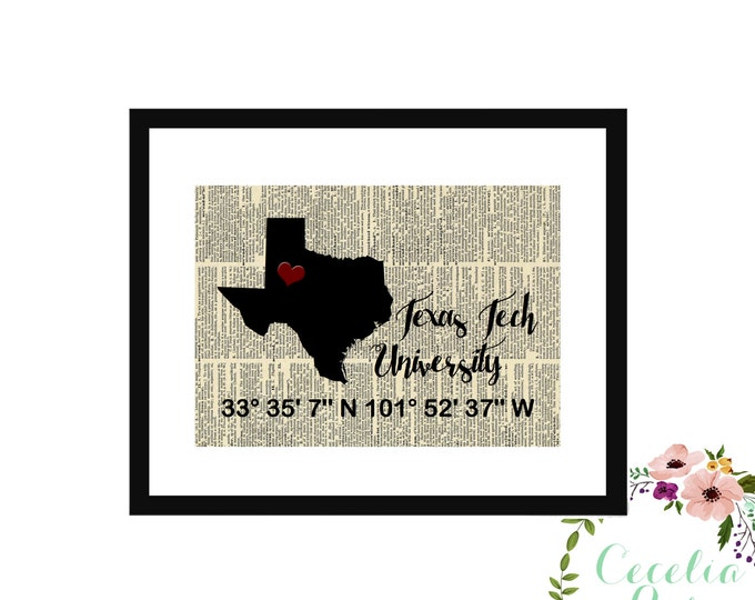Texas Tech Custom Coordinates Vintage Book Page Art Box Frame or Print