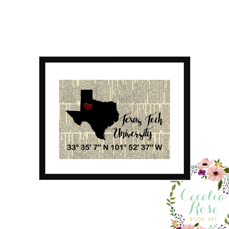 Texas tech custom coordinates vintage book page art box frame or texas tech custom coordinates vintage book page art box frame or print farmhouse style jeuxipadfo Gallery