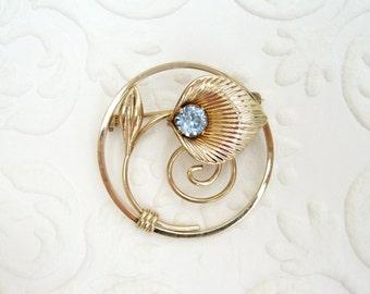 "Van Dell Vintage 1/20 12k Gold Filled Light Sapphire Blue Rhinestone Lily Flower Brooch 1.25"""