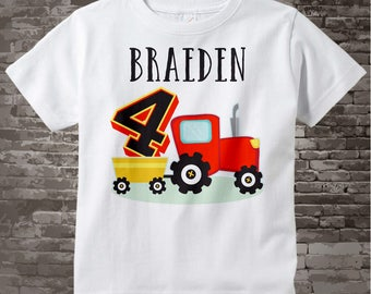 Fourth Birthday Red Farm Tractor Shirt, Personalized 4 year old Farmer Shirt, 4th Birthday tractor Shirt, childs name and age 07072015f