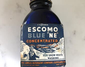 Escomo Eskimo Vintage Cobalt Blue Bluing Bottle Laundry