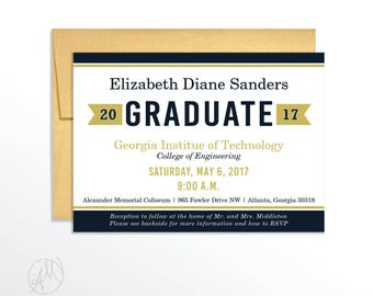 Navy and Gold Graduation Announcement Class of 2017 Commencement Celebration Invite High School, College, Doctorate Grad Party Invitation