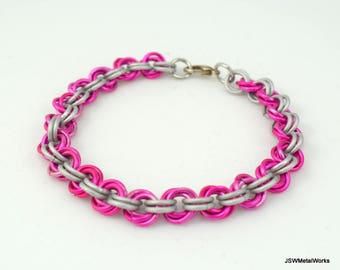 Pink and White Mobius Chainmail Bracelet, Aluminum Bracelet, Chainmaille Bracelet, Gift for him, Gift for her, Renaissance Chain Mail