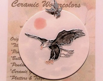 AMERICAN BALD EAGLE Handmade Ceramic-Watercolor Ornament with eagle in flight charm, plus free gift wrap, Bird City Gift