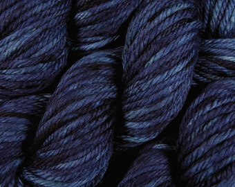 Hand Dyed Yarn - Bulky Weight Superwash Merino Wool Yarn - Ink Tonal - Knitting Yarn, Bulky Yarn, Navy Blue, Chunky Knits, SMALLER SKEINS